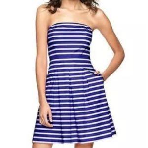 NWT Gap navy & white strapless dress sz 8p